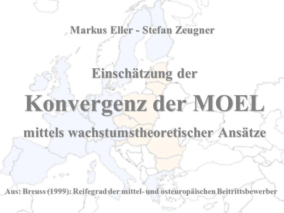 Einschätzung der Konvergenz der MOEL mittels wachstumstheoretischer Ansätze Aus: Breuss (1999): Reifegrad der mittel- und osteuropäischen Beitrittsbew