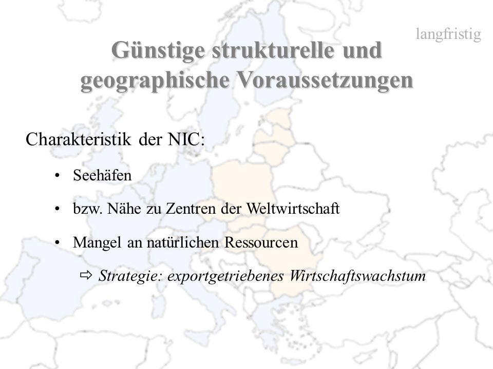 Günstige strukturelle und geographische Voraussetzungen Charakteristik der NIC: Seehäfen bzw. Nähe zu Zentren der Weltwirtschaft Mangel an natürlichen