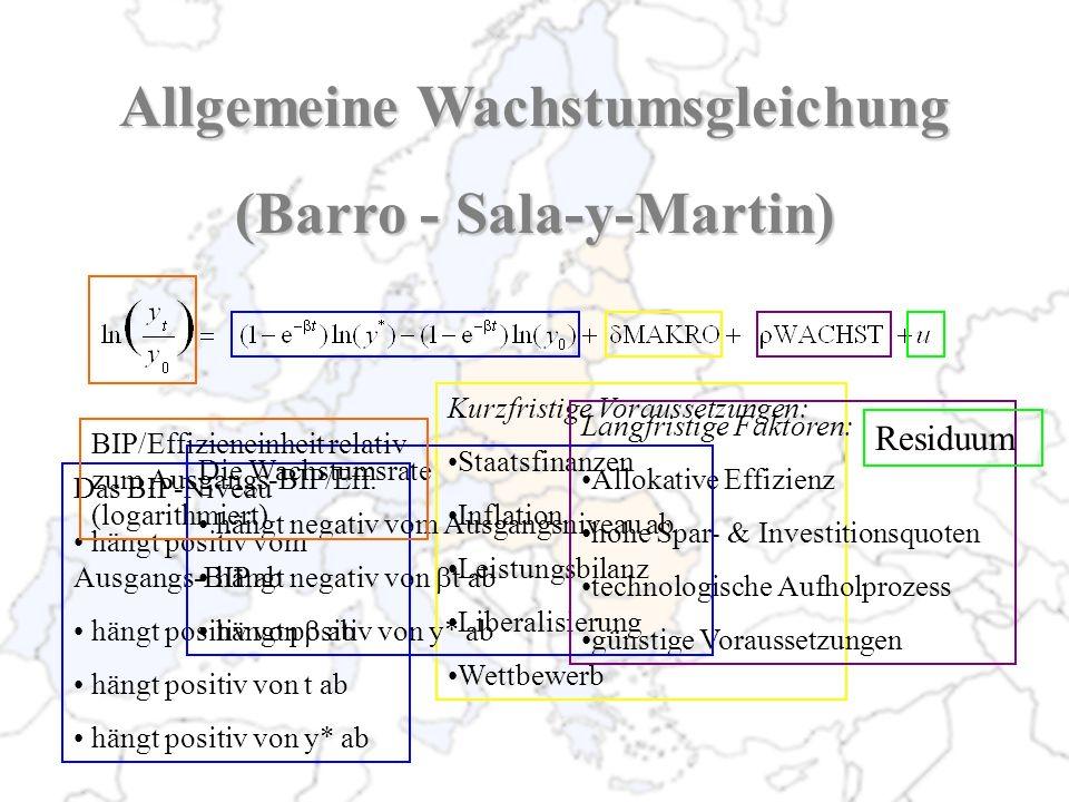 Allgemeine Wachstumsgleichung (Barro - Sala-y-Martin) Kurzfristige Voraussetzungen: Staatsfinanzen Inflation Leistungsbilanz Liberalisierung Wettbewer