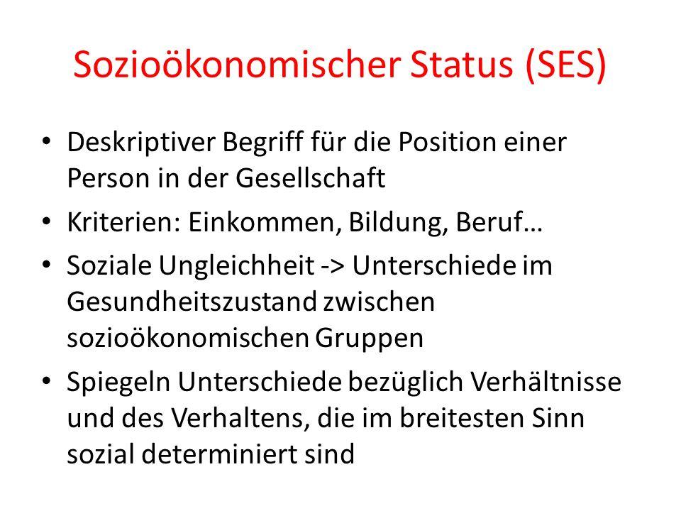 Sozioökonomischer Status (SES) Deskriptiver Begriff für die Position einer Person in der Gesellschaft Kriterien: Einkommen, Bildung, Beruf… Soziale Un