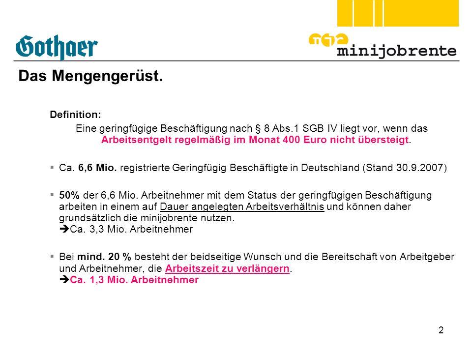 2 Das Mengengerüst. Definition: Eine geringfügige Beschäftigung nach § 8 Abs.1 SGB IV liegt vor, wenn das Arbeitsentgelt regelmäßig im Monat 400 Euro