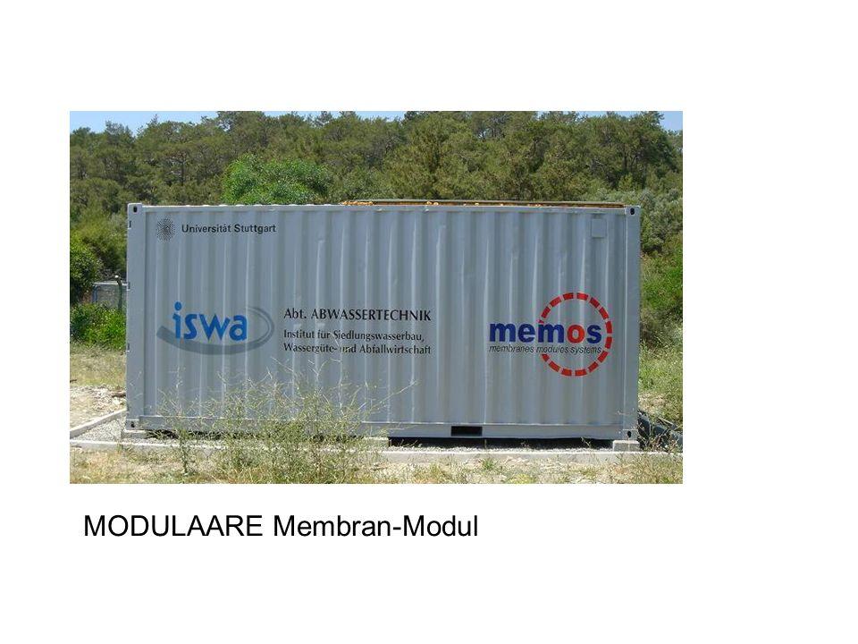 Membran-Modul, Planungsdaten Personen100P Wasserverbrauch500l/(P*d) Abwasserverlust20% Abwasser400l/(P*d) gesamt40m 3 /d Leistungsfähigkeit Membranen8,3l/(m 2 *h) 199l/(m 2 *d) Membranfläche240m2m2 max.