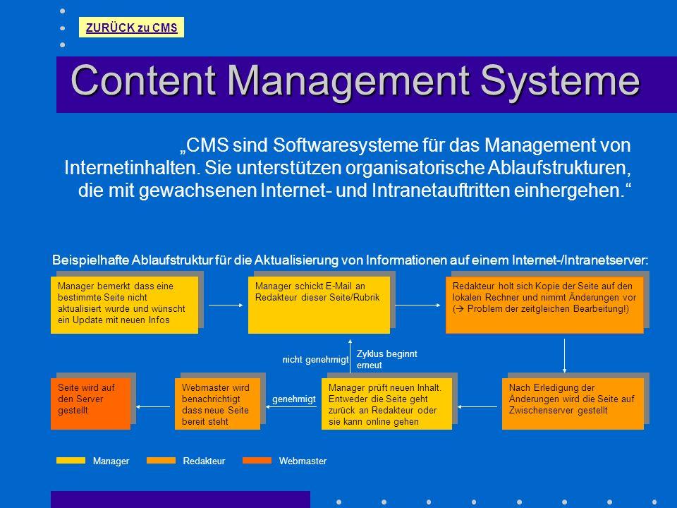 Content Management Systeme CMS sind Softwaresysteme für das Management von Internetinhalten. Sie unterstützen organisatorische Ablaufstrukturen, die m