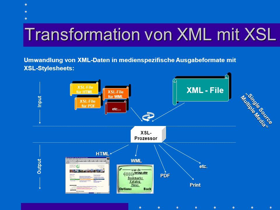Transformation von XML mit XSL Umwandlung von XML-Daten in medienspezifische Ausgabeformate mit XSL-Stylesheets: XSL-File für HTML XSL-File für PDF XS