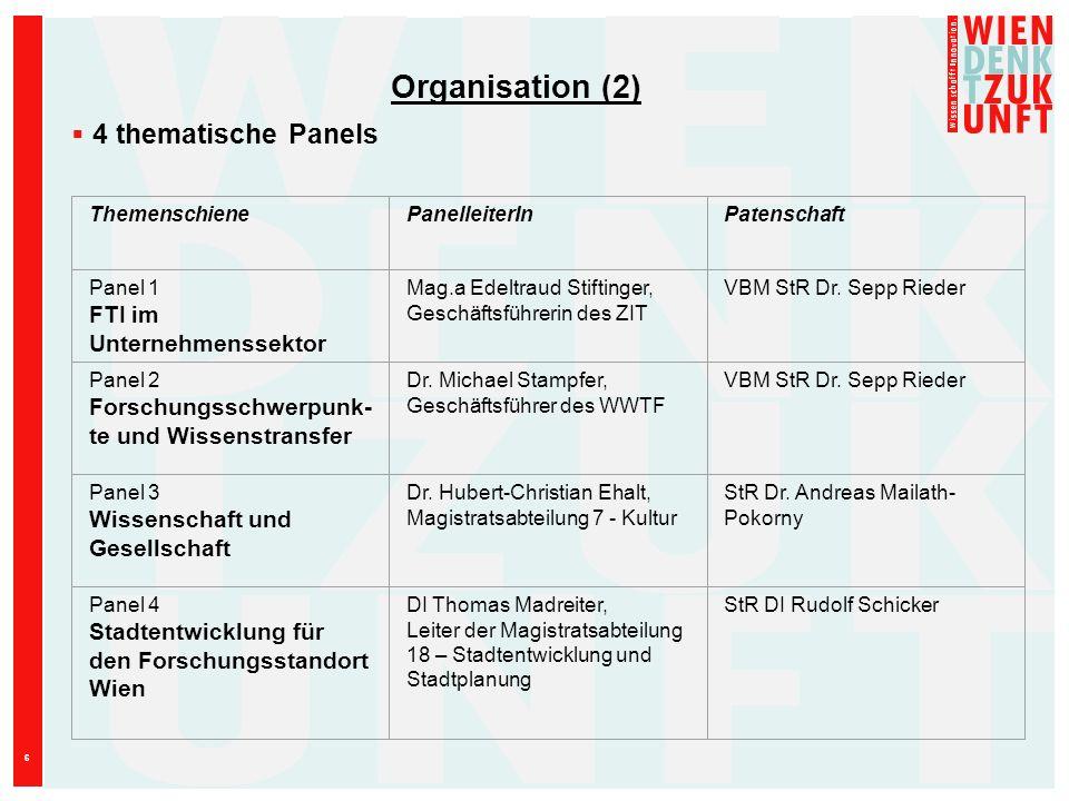 6 ThemenschienePanelleiterInPatenschaft Panel 1 FTI im Unternehmenssektor Mag.a Edeltraud Stiftinger, Geschäftsführerin des ZIT VBM StR Dr. Sepp Riede