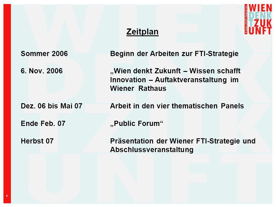 8 Zeitplan Sommer 2006Beginn der Arbeiten zur FTI-Strategie 6. Nov. 2006Wien denkt Zukunft – Wissen schafft Innovation – Auftaktveranstaltung im Wiene