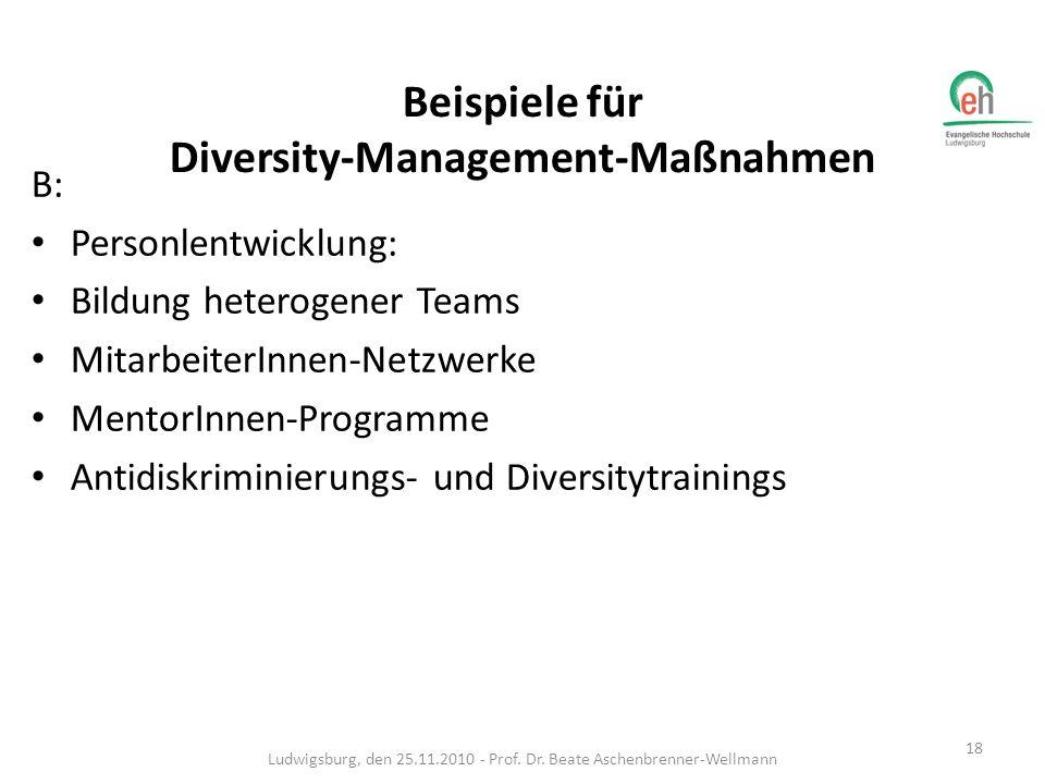 B: Personlentwicklung: Bildung heterogener Teams MitarbeiterInnen-Netzwerke MentorInnen-Programme Antidiskriminierungs- und Diversitytrainings Ludwigs