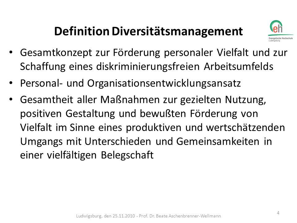 Definitionen – eine Auswahl: Die Diverstiy einer Organisation ist als kontextabhängige Resource zu verstehen, die die Heterogentiät und Homogenität von Organisationsmitgliedern beschreibt und ein Potenzial zur Generierung nachhaltiger Wettbewerbsvorteile impliziert.