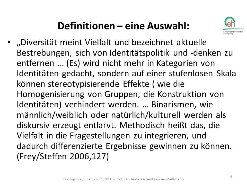Definitionen – eine Auswahl: Diversität meint Vielfalt und bezeichnet aktuelle Bestrebungen, sich von Identitätspolitik und -denken zu entfernen … (Es