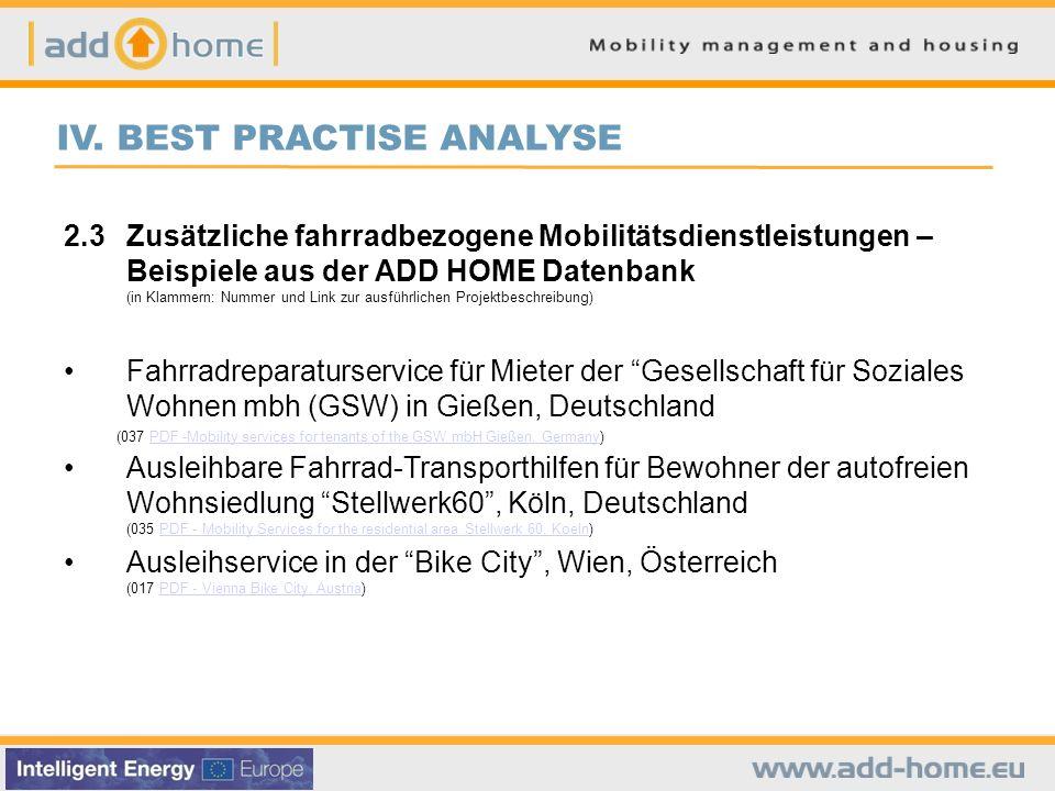 IV. BEST PRACTISE ANALYSE 2.3Zusätzliche fahrradbezogene Mobilitätsdienstleistungen – Beispiele aus der ADD HOME Datenbank (in Klammern: Nummer und Li