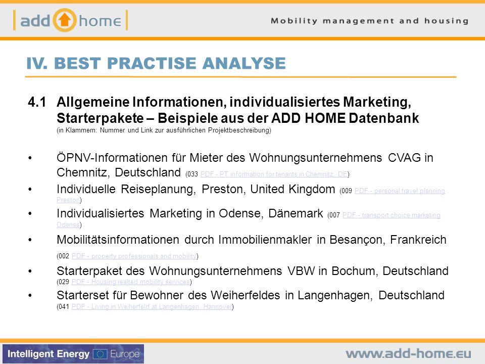 IV. BEST PRACTISE ANALYSE 4.1Allgemeine Informationen, individualisiertes Marketing, Starterpakete – Beispiele aus der ADD HOME Datenbank (in Klammern