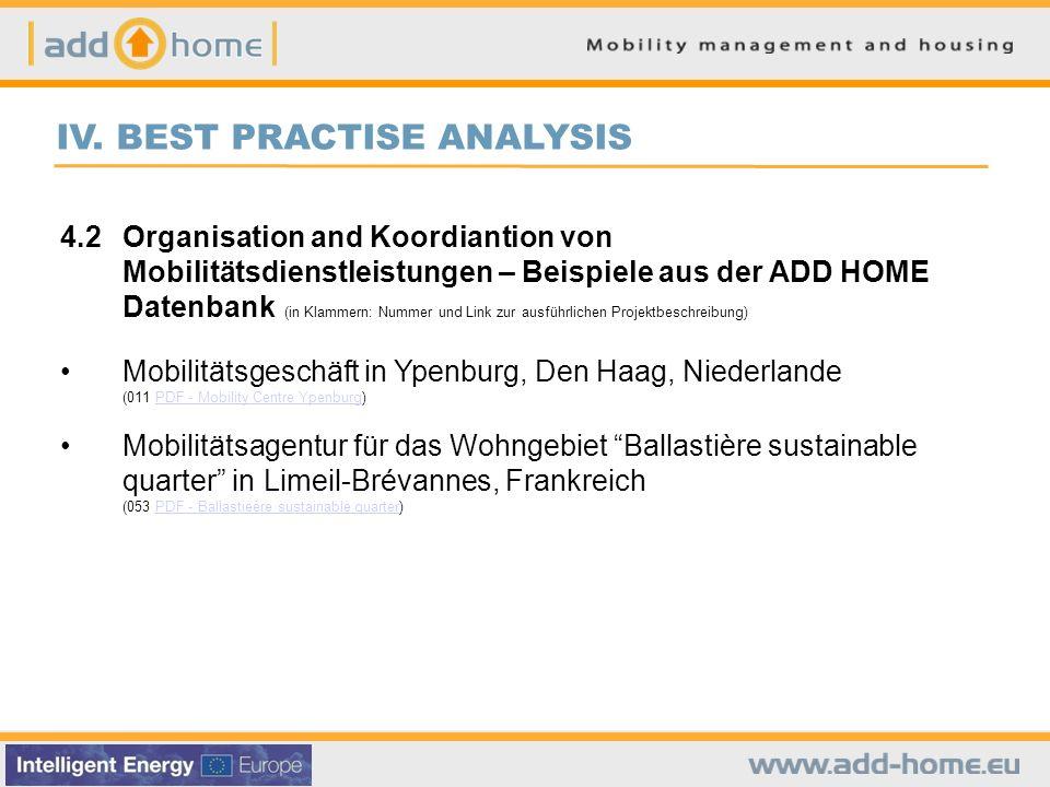 IV. BEST PRACTISE ANALYSIS 4.2Organisation and Koordiantion von Mobilitätsdienstleistungen – Beispiele aus der ADD HOME Datenbank (in Klammern: Nummer