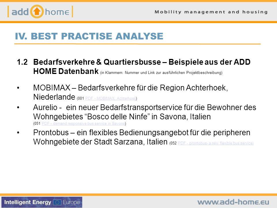 IV. BEST PRACTISE ANALYSE 1.2Bedarfsverkehre & Quartiersbusse – Beispiele aus der ADD HOME Datenbank (in Klammern: Nummer und Link zur ausführlichen P