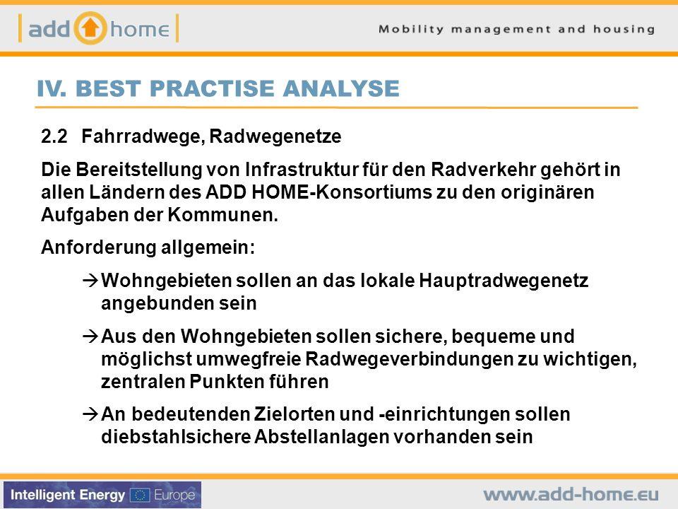 IV. BEST PRACTISE ANALYSE 2.2Fahrradwege, Radwegenetze Die Bereitstellung von Infrastruktur für den Radverkehr gehört in allen Ländern des ADD HOME-Ko