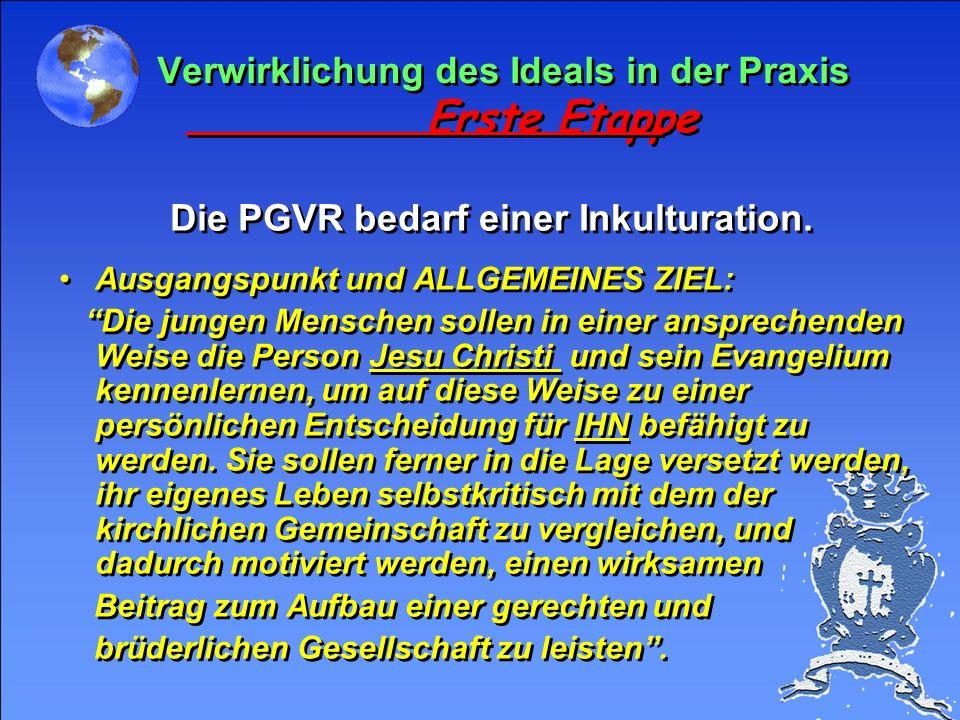 Anknüpfungspunkt Was wir anstreben x PGVR Wir beachten besonders die folgenden Punkte: 1. Gott 2. Menschen 3. Sprache 4. Mittel (Verkündigung = Zeugni