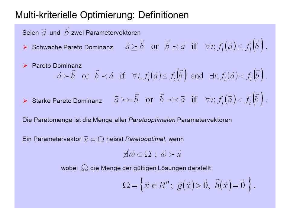 Multi-kriterielle Optimierung: Definitionen Seien und zwei Parametervektoren Schwache Pareto Dominanz Pareto Dominanz Starke Pareto Dominanz Die Paret