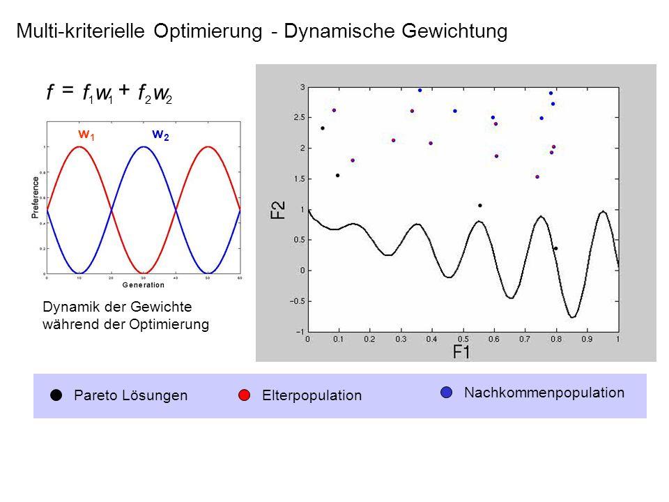 Multi-kriterielle Optimierung - Dynamische Gewichtung Pareto LösungenElterpopulation Nachkommenpopulation w1w1 w2w2 Dynamik der Gewichte während der O