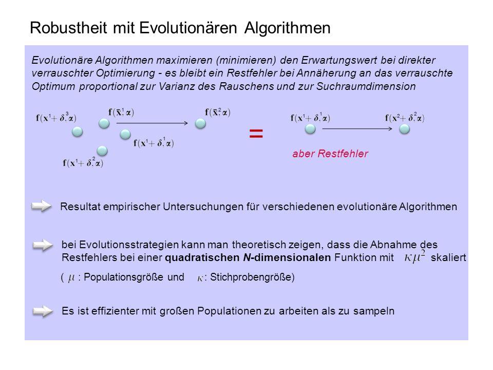 Robustheit mit Evolutionären Algorithmen Evolutionäre Algorithmen maximieren (minimieren) den Erwartungswert bei direkter verrauschter Optimierung - e