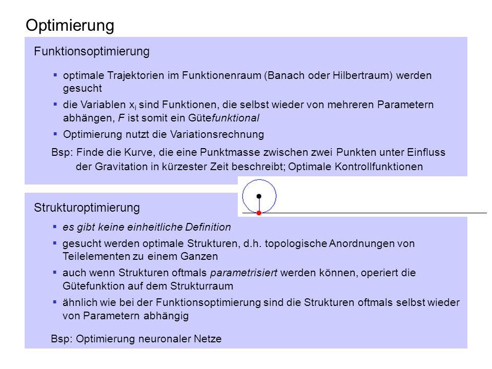 Optimierung optimale Trajektorien im Funktionenraum (Banach oder Hilbertraum) werden gesucht die Variablen x i sind Funktionen, die selbst wieder von