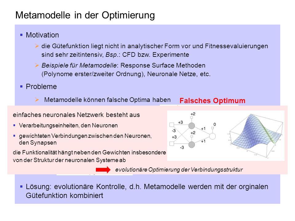 Metamodelle in der Optimierung Motivation die Gütefunktion liegt nicht in analytischer Form vor und Fitnessevaluierungen sind sehr zeitintensiv, Bsp.: