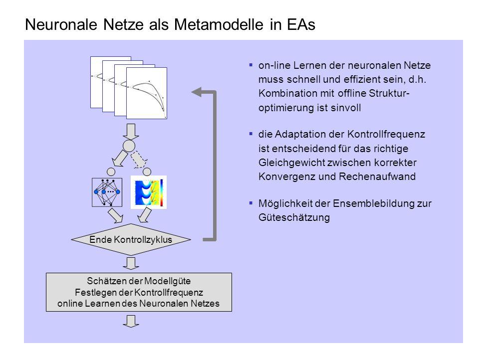 Schätzen der Modellgüte Festlegen der Kontrollfrequenz online Learnen des Neuronalen Netzes Ende Kontrollzyklus Neuronale Netze als Metamodelle in EAs