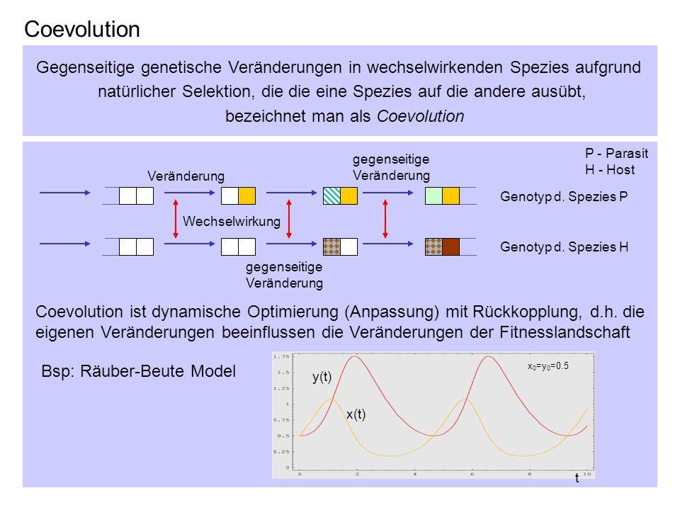 Coevolution Gegenseitige genetische Veränderungen in wechselwirkenden Spezies aufgrund natürlicher Selektion, die die eine Spezies auf die andere ausü