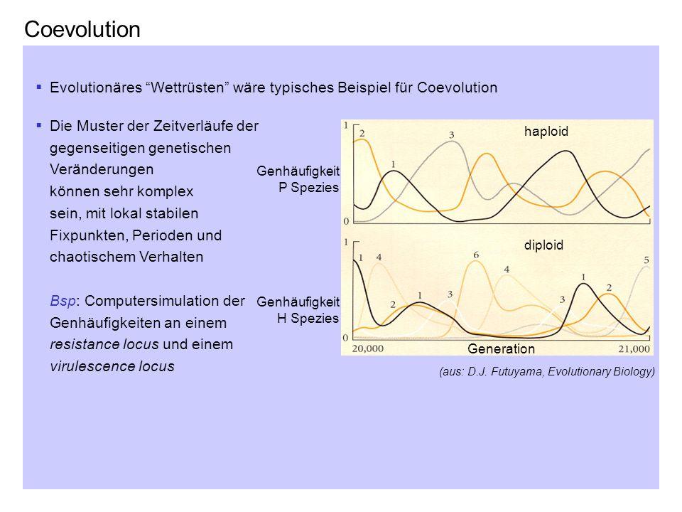 Coevolution Evolutionäres Wettrüsten wäre typisches Beispiel für Coevolution Die Muster der Zeitverläufe der gegenseitigen genetischen Veränderungen k