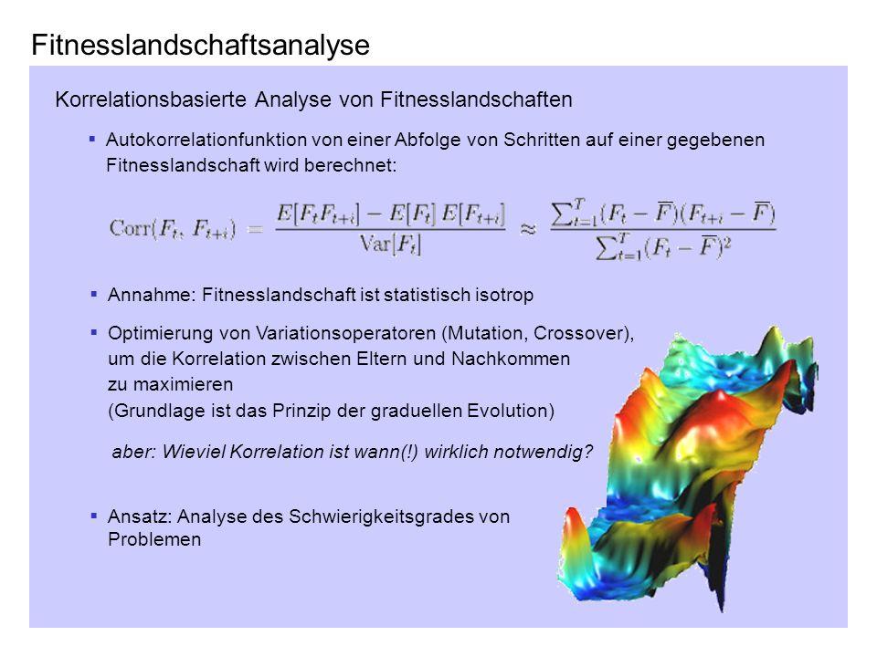 Fitnesslandschaftsanalyse Korrelationsbasierte Analyse von Fitnesslandschaften Autokorrelationfunktion von einer Abfolge von Schritten auf einer gegeb