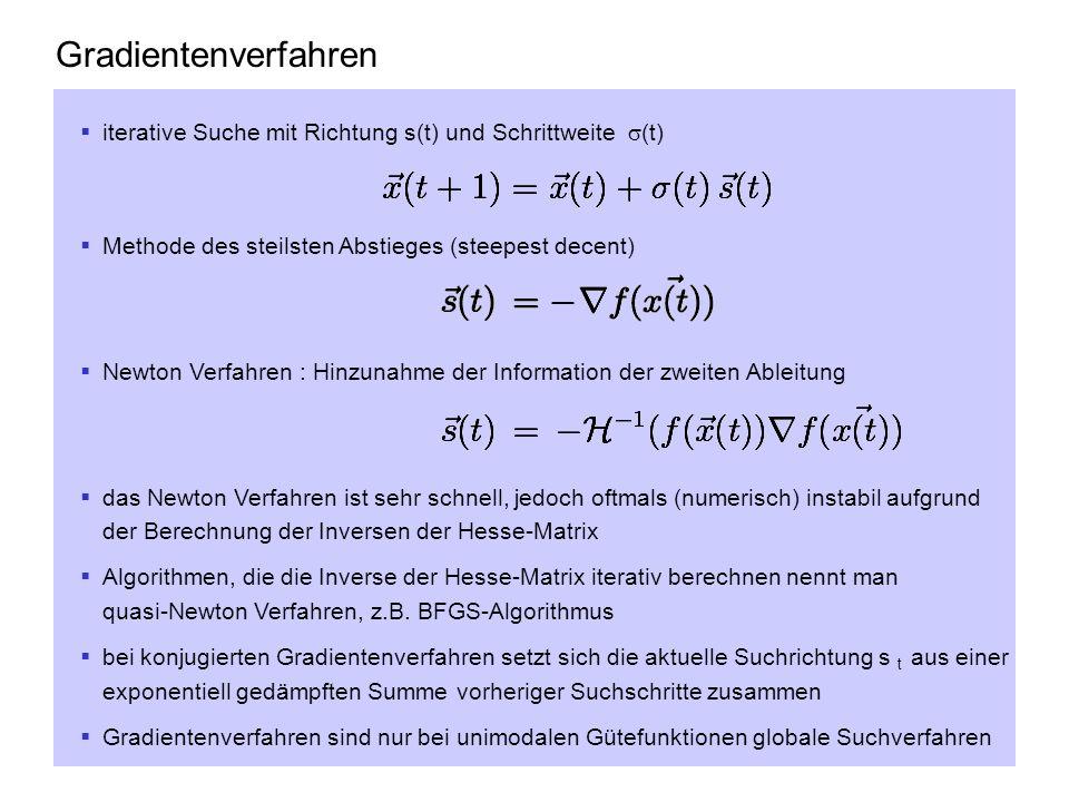 Gradientenverfahren iterative Suche mit Richtung s(t) und Schrittweite (t) Methode des steilsten Abstieges (steepest decent) Newton Verfahren : Hinzun