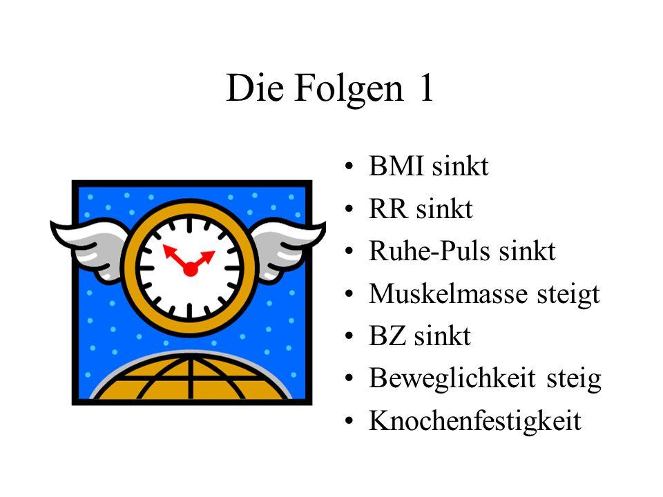 Die Folgen 1 BMI sinkt RR sinkt Ruhe-Puls sinkt Muskelmasse steigt BZ sinkt Beweglichkeit steig Knochenfestigkeit