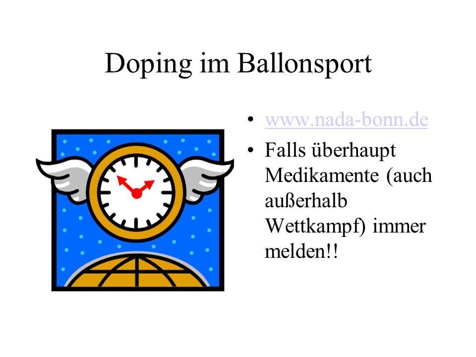 Doping im Ballonsport www.nada-bonn.de Falls überhaupt Medikamente (auch außerhalb Wettkampf) immer melden!!