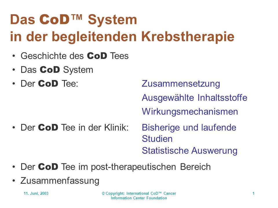 11. Juni, 2003© Copyright: International CoD Cancer Information Center Foundation 1 Das CoD System in der begleitenden Krebstherapie Geschichte des Co