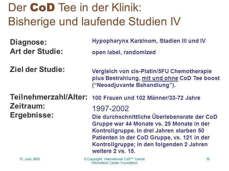 11. Juni, 2003© Copyright: International CoD Cancer Information Center Foundation 10 Der CoD Tee in der Klinik: Bisherige und laufende Studien IV Diag