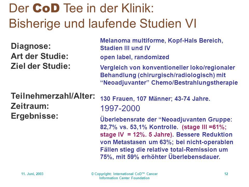 11. Juni, 2003© Copyright: International CoD Cancer Information Center Foundation 12 Der CoD Tee in der Klinik: Bisherige und laufende Studien VI Diag