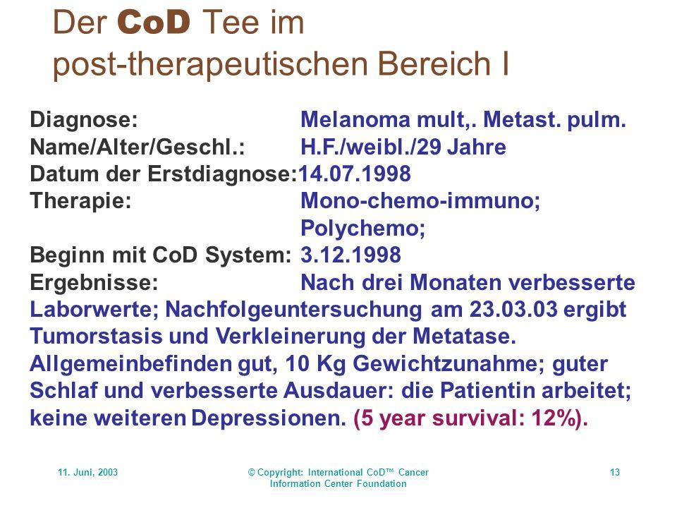 11. Juni, 2003© Copyright: International CoD Cancer Information Center Foundation 13 Der CoD Tee im post-therapeutischen Bereich I Diagnose:Melanoma m