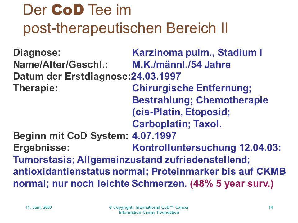 11. Juni, 2003© Copyright: International CoD Cancer Information Center Foundation 14 Der CoD Tee im post-therapeutischen Bereich II Diagnose:Karzinoma