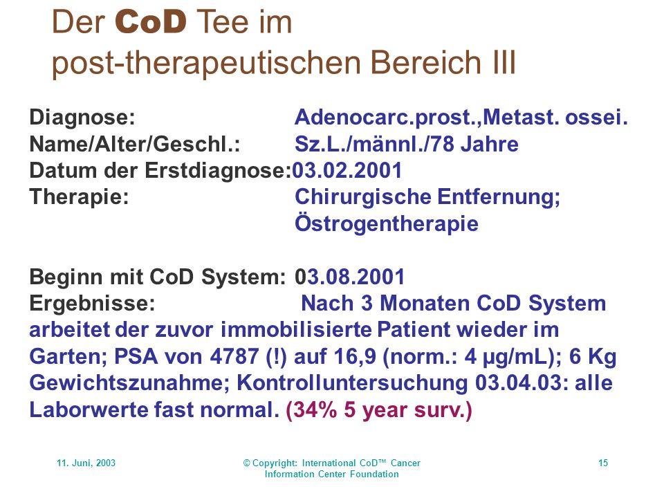 11. Juni, 2003© Copyright: International CoD Cancer Information Center Foundation 15 Der CoD Tee im post-therapeutischen Bereich III Diagnose:Adenocar