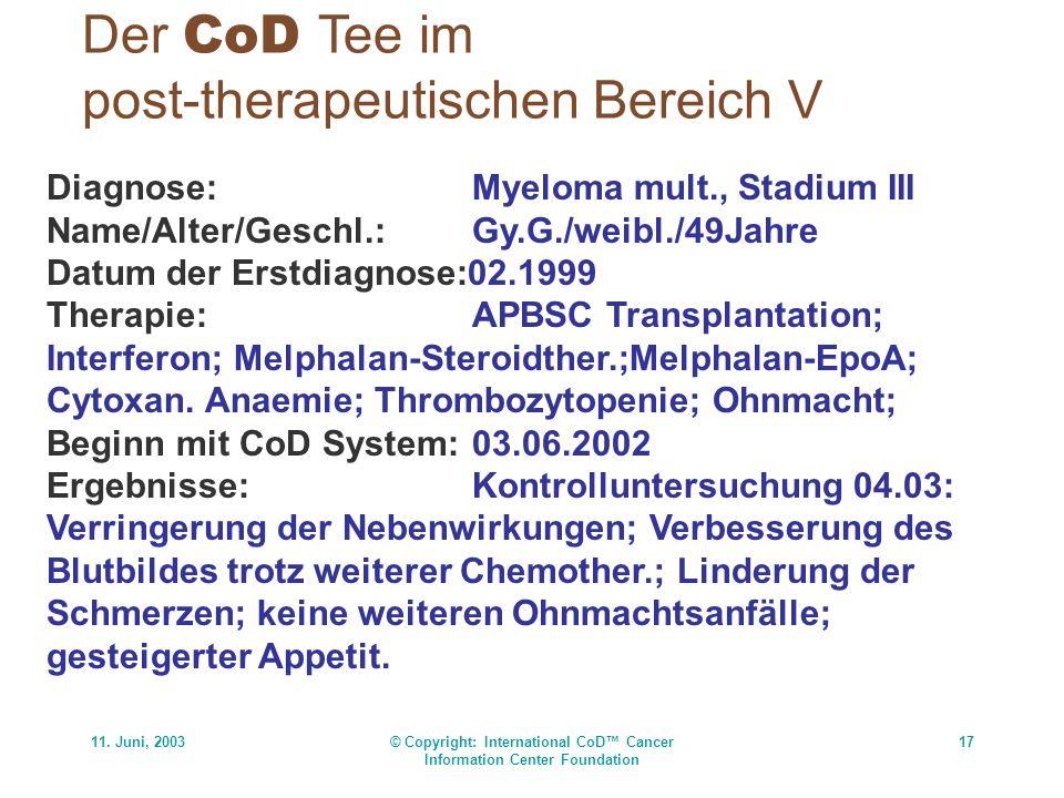 11. Juni, 2003© Copyright: International CoD Cancer Information Center Foundation 17 Der CoD Tee im post-therapeutischen Bereich V Diagnose:Myeloma mu