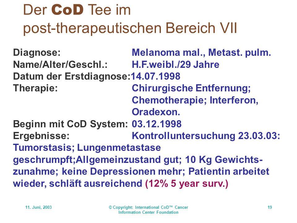 11. Juni, 2003© Copyright: International CoD Cancer Information Center Foundation 19 Der CoD Tee im post-therapeutischen Bereich VII Diagnose:Melanoma