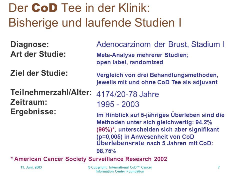 11. Juni, 2003© Copyright: International CoD Cancer Information Center Foundation 7 Der CoD Tee in der Klinik: Bisherige und laufende Studien I Diagno