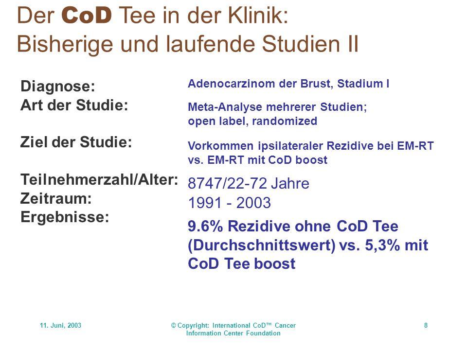 11. Juni, 2003© Copyright: International CoD Cancer Information Center Foundation 8 Der CoD Tee in der Klinik: Bisherige und laufende Studien II Diagn