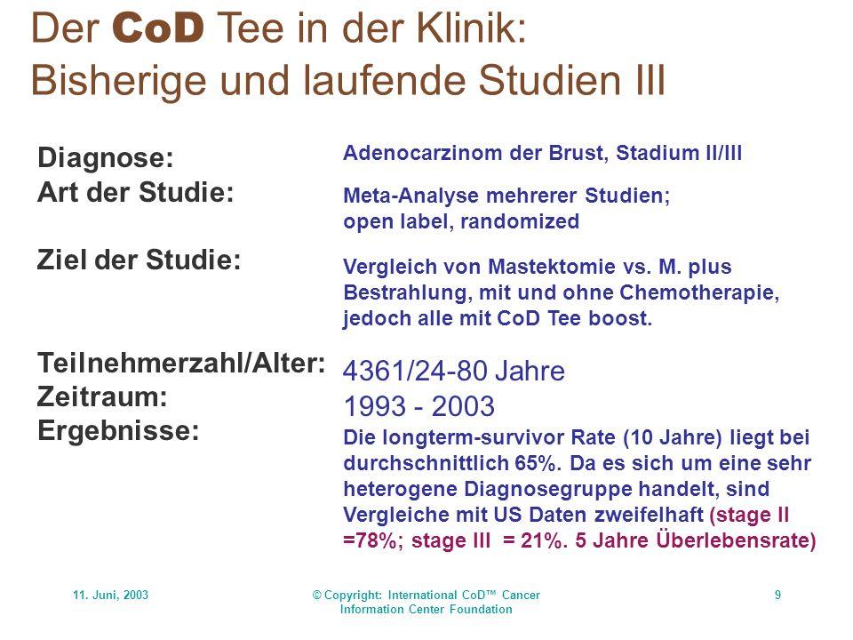 11. Juni, 2003© Copyright: International CoD Cancer Information Center Foundation 9 Der CoD Tee in der Klinik: Bisherige und laufende Studien III Diag