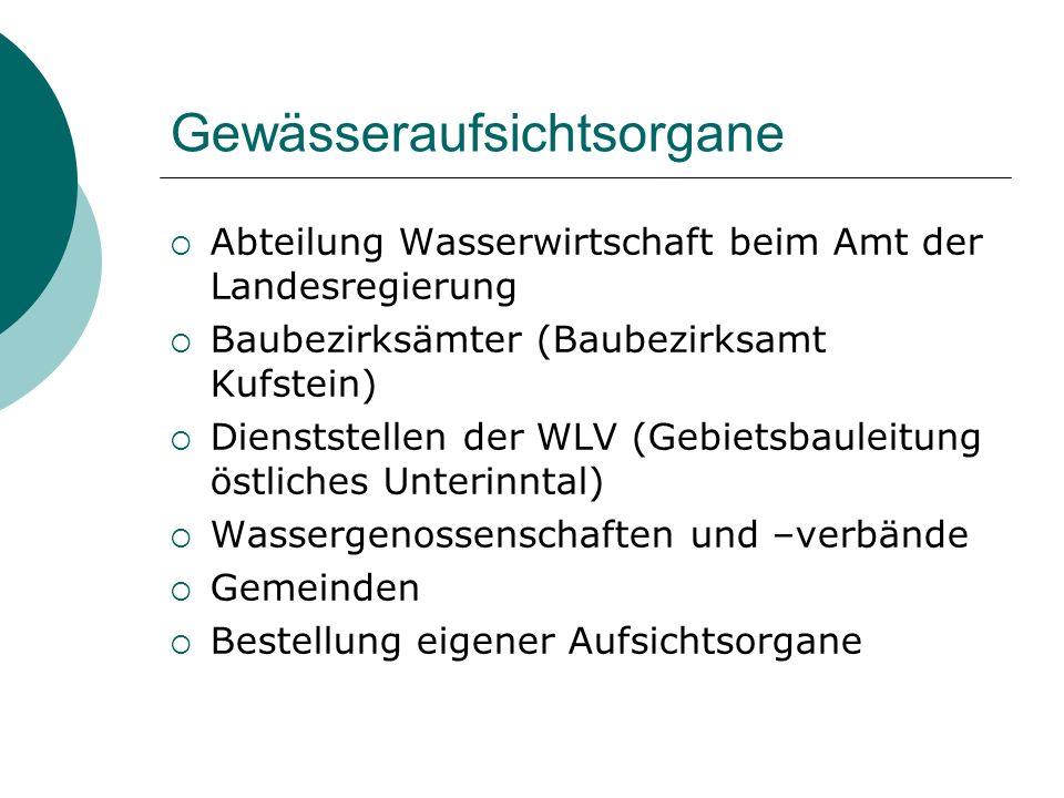 Gewässeraufsichtsorgane Abteilung Wasserwirtschaft beim Amt der Landesregierung Baubezirksämter (Baubezirksamt Kufstein) Dienststellen der WLV (Gebiet