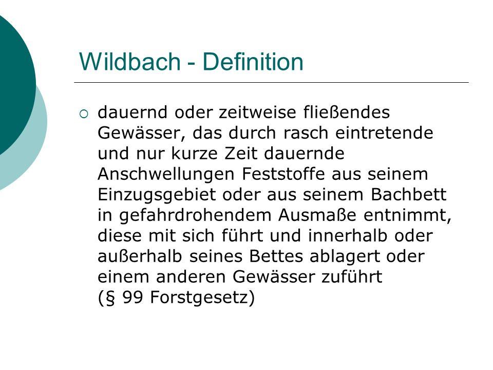 Wildbach - Definition dauernd oder zeitweise fließendes Gewässer, das durch rasch eintretende und nur kurze Zeit dauernde Anschwellungen Feststoffe au