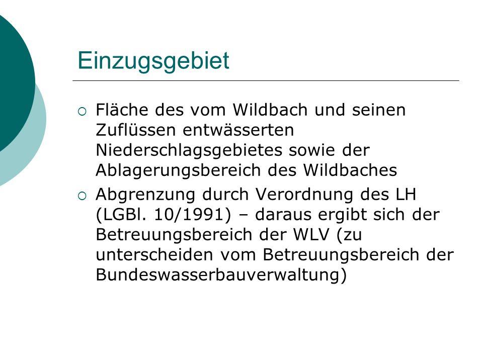 Einzugsgebiet Fläche des vom Wildbach und seinen Zuflüssen entwässerten Niederschlagsgebietes sowie der Ablagerungsbereich des Wildbaches Abgrenzung d