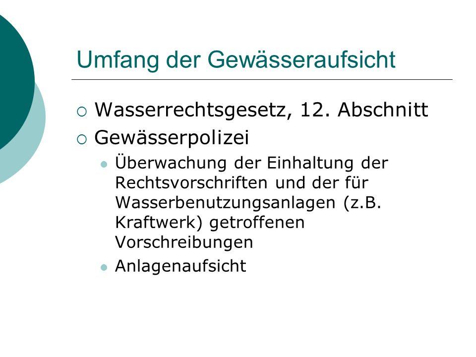 Umfang der Gewässeraufsicht Wasserrechtsgesetz, 12. Abschnitt Gewässerpolizei Überwachung der Einhaltung der Rechtsvorschriften und der für Wasserbenu