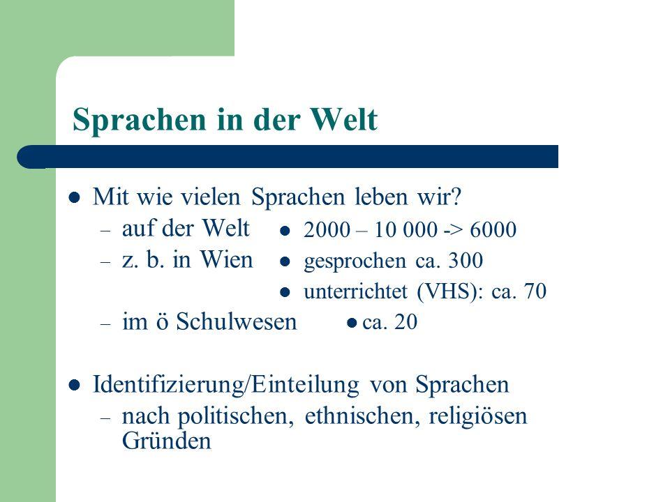 Sprachen in der Welt Mit wie vielen Sprachen leben wir? – auf der Welt – z. b. in Wien – im ö Schulwesen Identifizierung/Einteilung von Sprachen – nac
