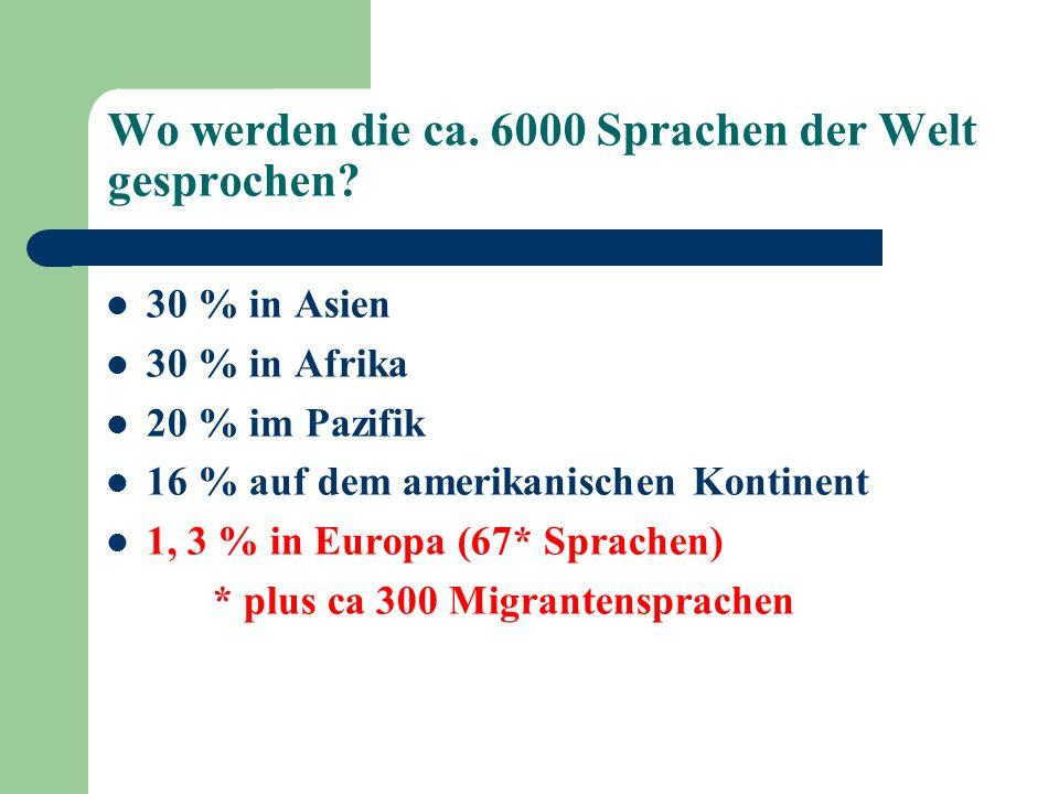Wo werden die ca. 6000 Sprachen der Welt gesprochen? 30 % in Asien 30 % in Afrika 20 % im Pazifik 16 % auf dem amerikanischen Kontinent 1, 3 % in Euro