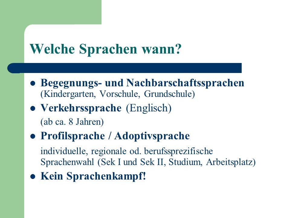 Welche Sprachen wann? Begegnungs- und Nachbarschaftssprachen (Kindergarten, Vorschule, Grundschule) Verkehrssprache (Englisch) (ab ca. 8 Jahren) Profi