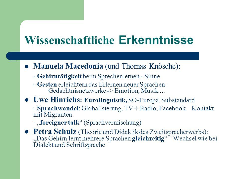 Wissenschaftliche Erkenntnisse Manuela Macedonia (und Thomas Knösche): - Gehirntätigkeit beim Sprechenlernen - Sinne - Gesten erleichtern das Erlernen